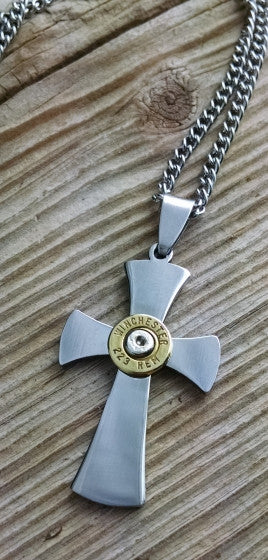 Men's Bullet Stainless Steel Cross Necklace