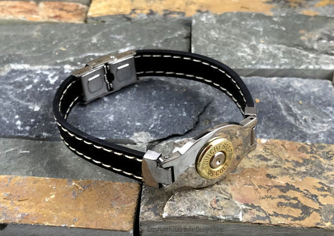 Men's Black Leather Bullet Bracelet