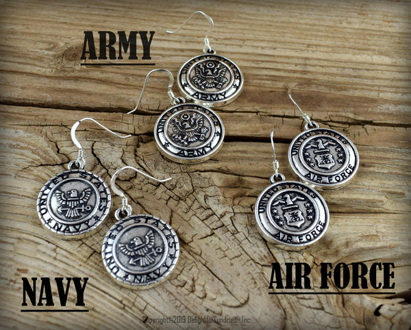 Military Earrings, Army, Navy, Air Force