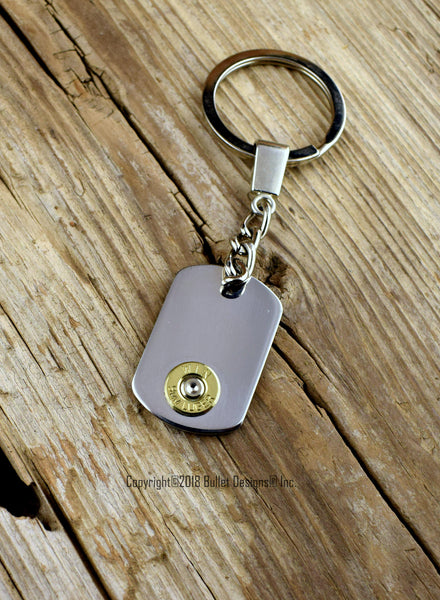 Mini Dog Tag Bullet Keychain, Custom Engraved, Personalized, Key Chain, Keychain, DARK Engraving on Back