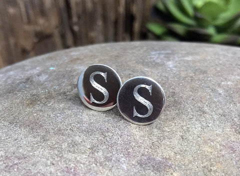 Sterling Silver Engraved Initial Stud Earrings