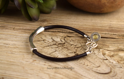 9mm Dark Brown Leather Cord Bullet Bracelet