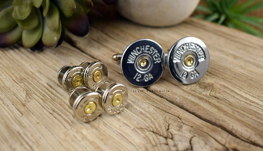 Bullet Tuxedo Studs and Shotgun Cufflinks set NICKEL, 12 or 20 Gauge Shotgun Shell Cufflinks, Bullet Tuxedo Studs, Wedding, Groom, Groomsmen