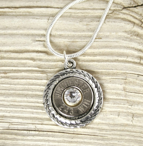 Nickel Antique Swirls Bullet Necklace