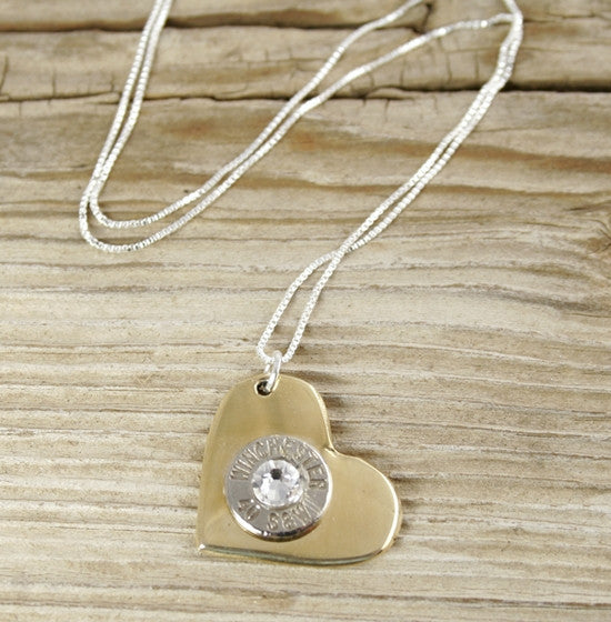 Nickel Bullet Brass Heart Necklace - 20 Chain""