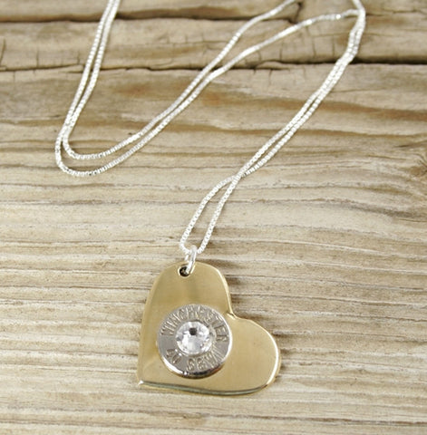 Nickel Bullet Brass Heart Necklace  ***NEXT AVAILABLE SHIPPING DATE FOR THIS PRODUCT IS THE WEEK OF MARCH 5