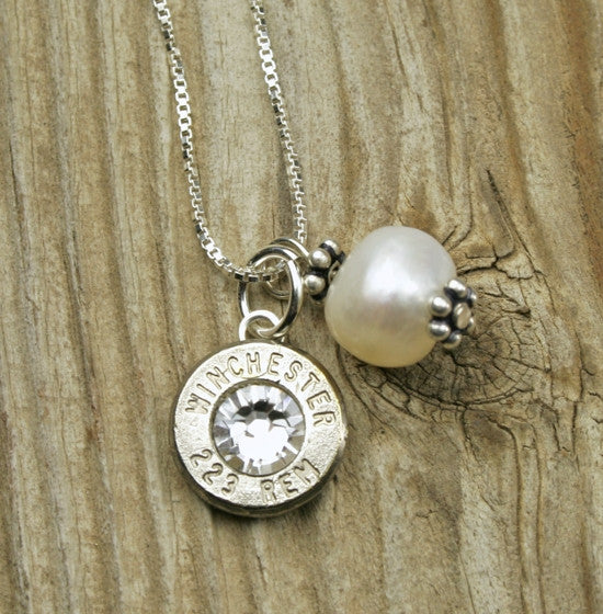Bullet & Pearl Sterling Silver Necklace