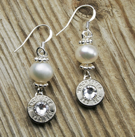 Nickel & Pearl Dangle Bullet Earrings