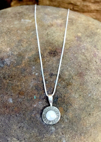 Nickel Pearl Sterling Silver Bullet Head Necklace