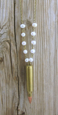 Pearl Beaded Bullet Casing Necklace