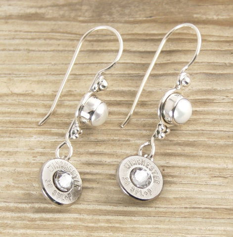 Pearl & Bullet Earrings with Fishhook Earwire