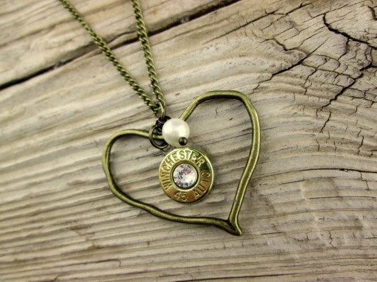 Perfectly Imperfect Bronze Custom Bullet Heart Necklace