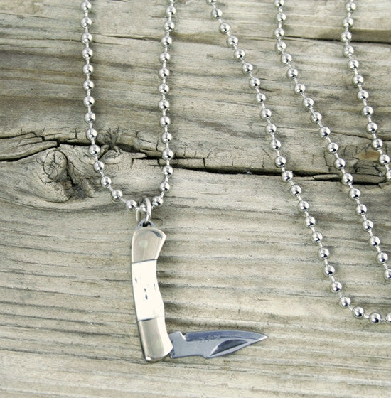 Rough Rider Miniature Knife Necklace w/Ball Chain, Rough Ryder