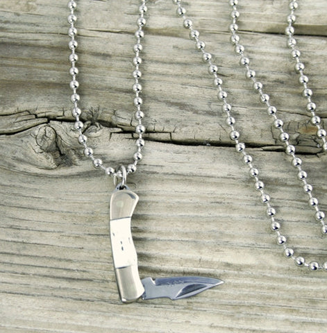 Rough Rider Miniature Knife Necklace w/Ball Chain