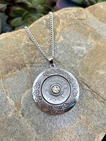 Custom 20 Gauge Shotgun Photo Locket Necklace, Antique Silver Plated Keepsake