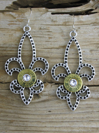 Lovely Large Fleur de lis Earrings