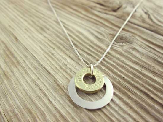 Sterling Silver Washer Bullet Minimalist Necklace Mixed Metal