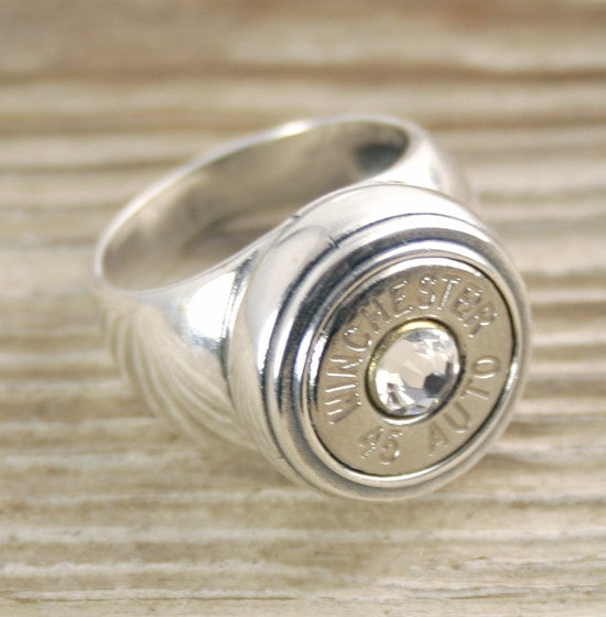 Custom Bullet Ring Sterling Silver Inlaid Bullet Jewelry