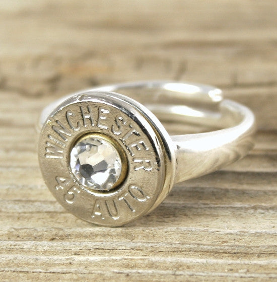 Bullet Ring, Adjustable Sterling Silver  Bullet Jewelry, Colt 45, 308, 30-06