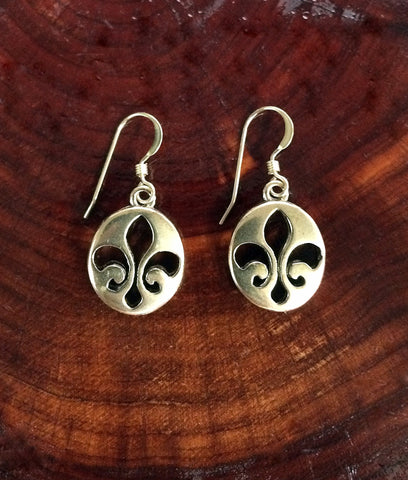 Bronze Oval Fleur de Lis Dangle Earrings