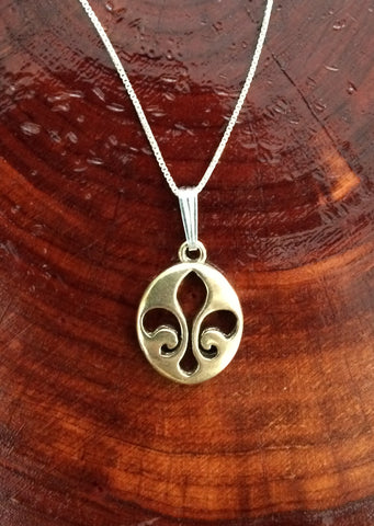 Sterling Silver Bronze Oval Fleur de Lis Necklace