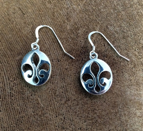 Sterling Silver Oval Fleur de Lis Dangle Earrings