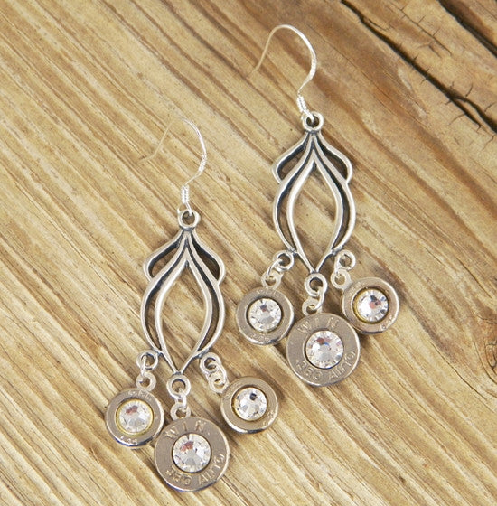 Sterling Silver Triple Chandelier Bullet Earrings