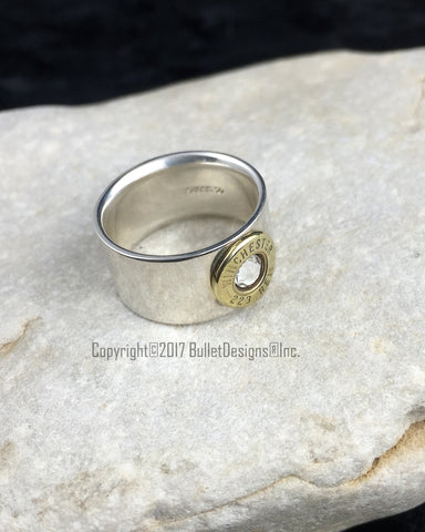 .925 Sterling Silver 223 Bullet Wedding Band Ring