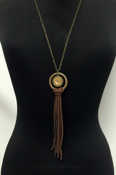20 Gauge Leather Tassel Shotgun Necklace