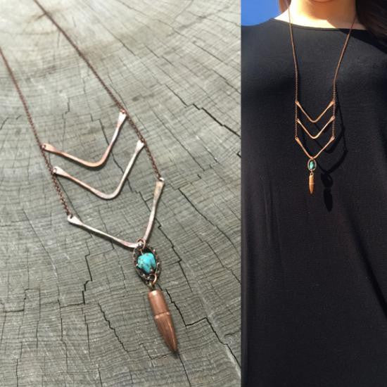Triple Arrow Copper Bullet Necklace