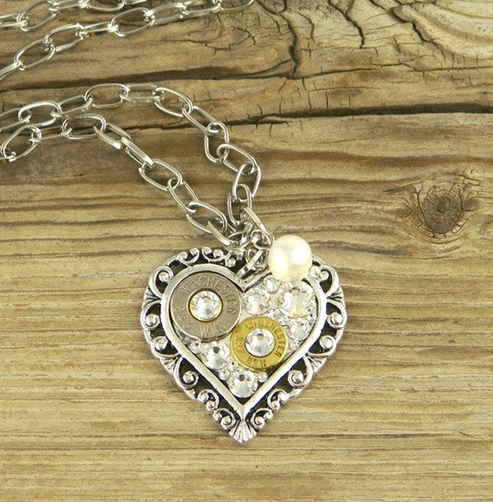 Two Bullet Filigree Heart Necklace