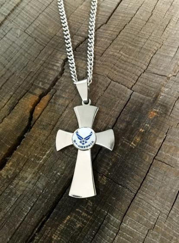 US Air Force Stainless Steel Cross Necklace