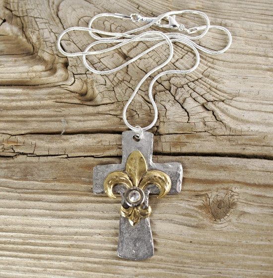 Ultimate Hammered Cross and Fleur de Lis Bullet Necklace