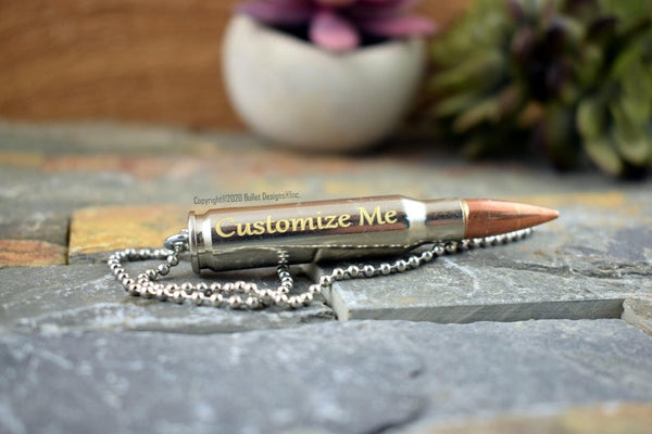 Custom Engraved 308 Urn Bullet Necklace, DIY, Personalized Memorial Keychain