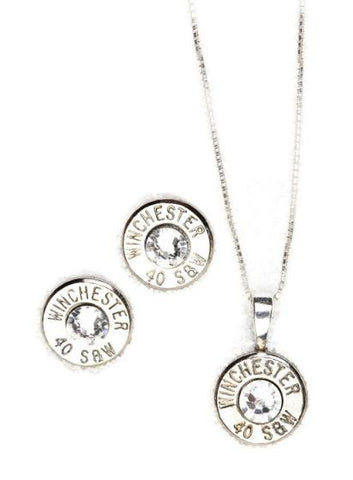 40 Caliber Bullet Nickel Gift Set (Stud Earrings & Sterling Silver Necklace)