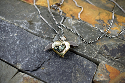 Custom Abalone Shell Miniature Heart Knife Necklace, Stainless Steel