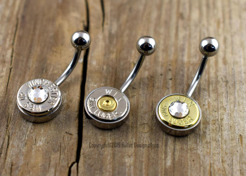 Bullet Belly Ring- 9mm, 40 Cal, 38 Sp. 357 Mag, 357 Sig NON-DANGLE