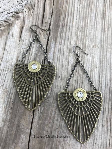 Bohemian Bullet Earrings, Bronze Boho, Antique Brass Wing