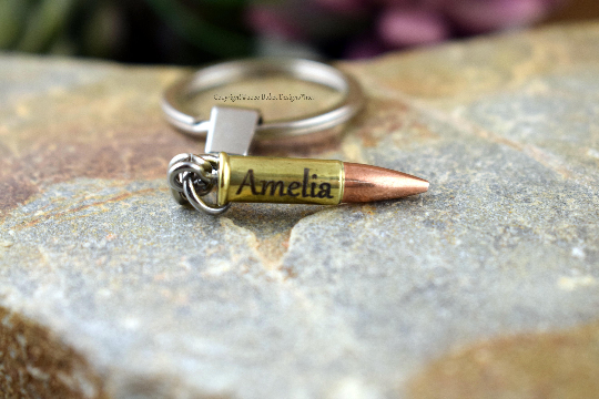 Custom 22 Rifle Real Fired Bullet Keychain, Free Engraving