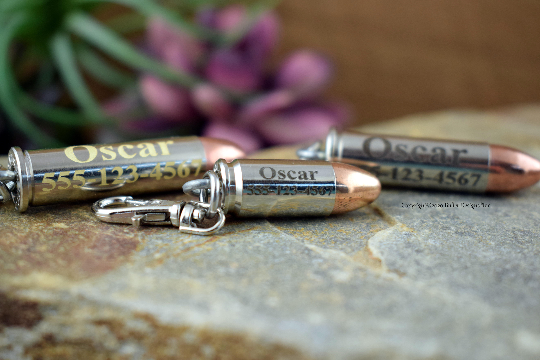 Personalized Bullet Dog Tag Clip