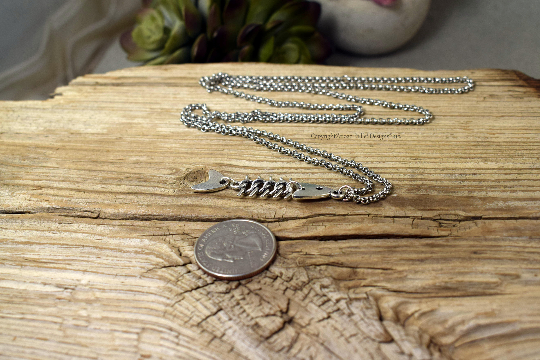 Fish Bone Necklace, Long, Skeleton Fishing, Women's Silver, Custom
