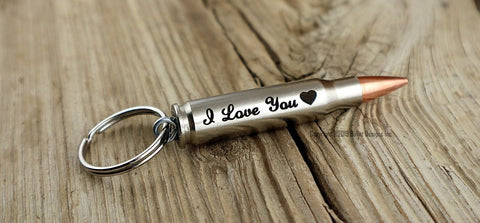 I Love You Valentine's Heart Custom Nickel Bullet Personalized Key Chain Keychain, DARK Engraving, 308, 30-06, 30-30, 270, 243, ak-47,223, ar15, M4