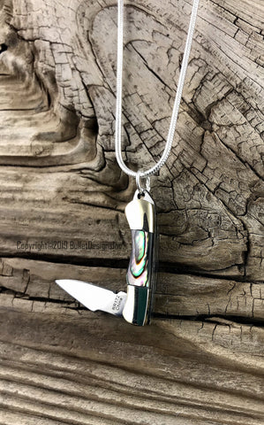Abalone Shell Rough Rider Knife Necklace, Snake Chain