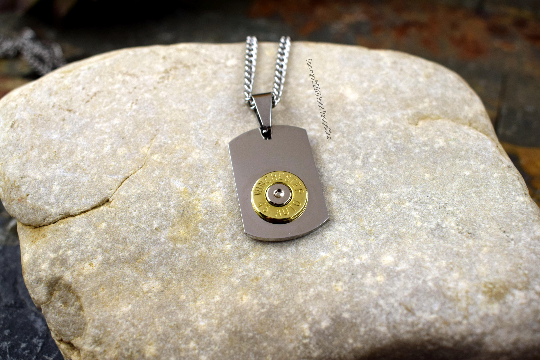 Tiny Dog Tag Bullet Necklace, Custom Engraved, Personalized