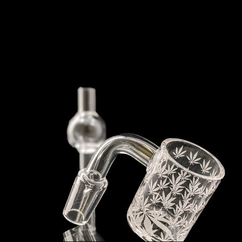 Etched Cannabis Leaf Quartz Banger and Bubble Cap Kit