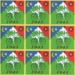 Framed Albert Hofmann Bike Ride 1943 Green 9 panel 19cm x 19cm Blotter Art