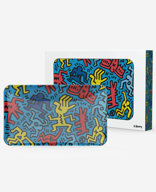 K.Haring Glass Tray Multi Blue