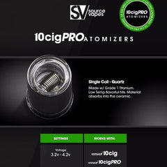 10cig Pro Quartz Single Coil Atomizers Pack of 3