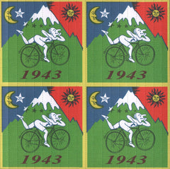 Framed Albert Hofmann Bike Ride 1943 4 panel 19cm x 19cm Blotter Art