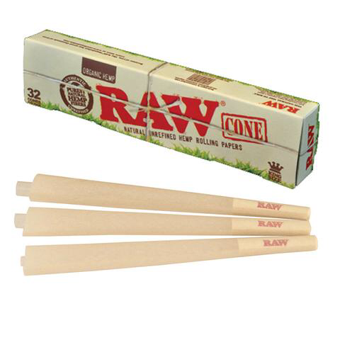 RAW Organic King Size Pre-Rolled Cones 32 pack